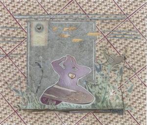 Mindful Breathing (Goodheart Moon), Mixed Media Collage by Teresa Blatt, 8.5in x 10in, $180 (June 2021)