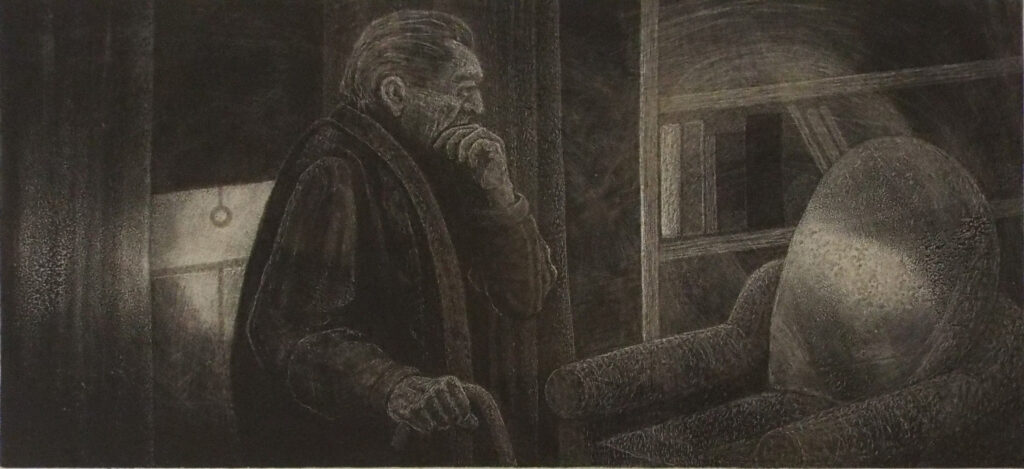 THIRD PLACE: Rest Beckoning, Ink on Clayboard by Phyllis Graudszus, 5.5in x 12in, NFS (June 2021)
