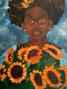 Sunflower 1, Oil on Canvas by Deborah Ware, 24in x 18in, $400 (June 2021)