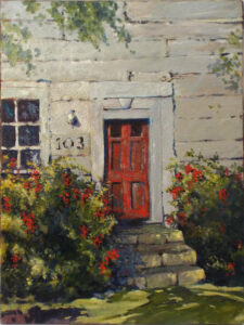 The Counting House, Old Falmouth, Oil by Marcia Chaves, 24in x 18in, $375 (June 2021)