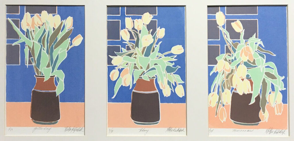 FIRST PLACE: Tulips (Yesterday, Today, Tomorrow), Screen Print by Sally Rhone-Kubarek, 14in x 24in, $250 (June 2021)