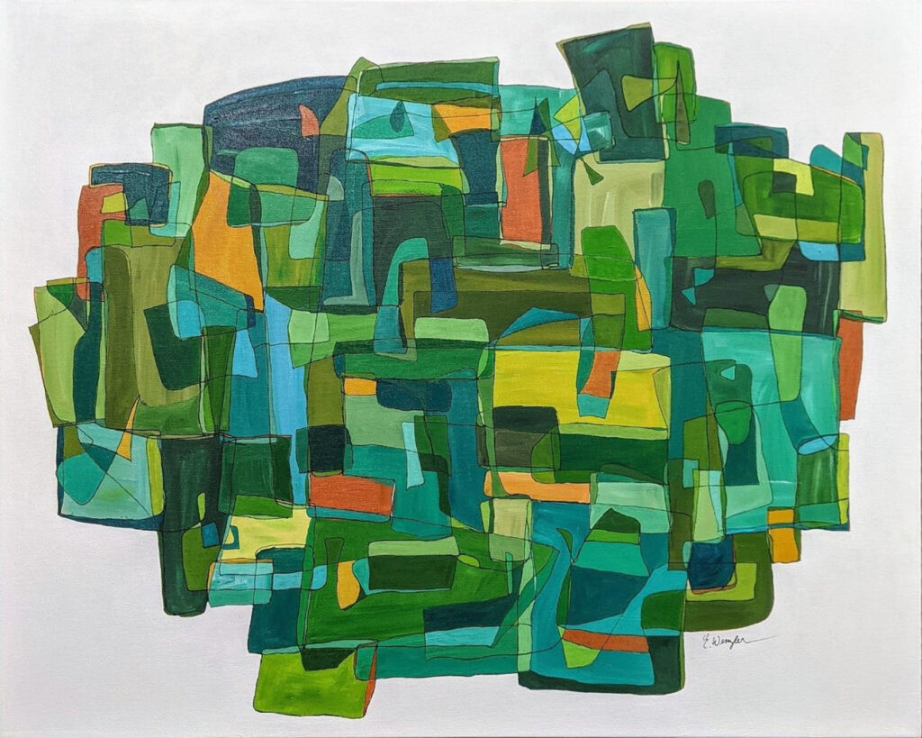 HONORABLE MENTION: Verdant, Acrylic on Canvas by Ellyn Wenzler, 24in x 30in, $590 (June 2021)