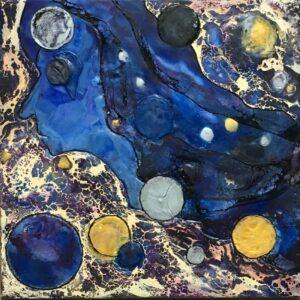 A Long Night, Encaustic by Sally Rhone-Kubarek, 12in x 12in, $300 (July 2021)