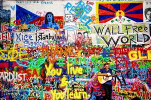 At the Lennon Wall - Prague, Photography by Norma Woodward, 20in x 30in, $225 (July 2021)