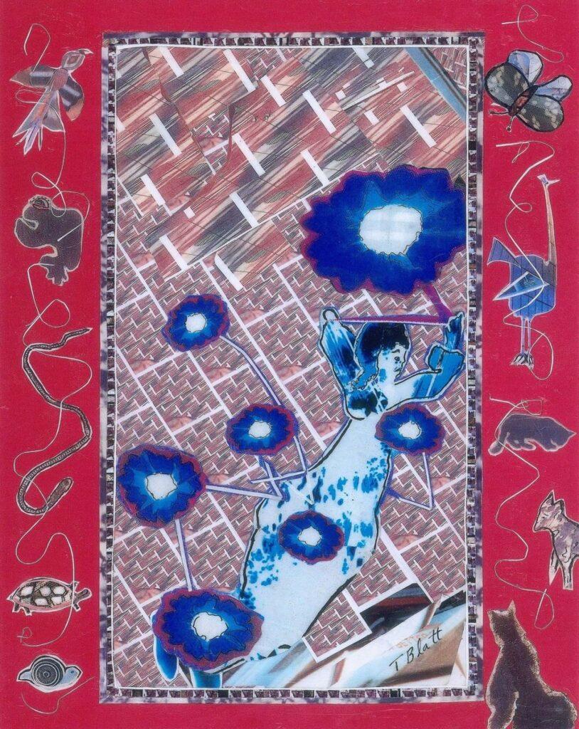 HONORABLE MENTION: Flowers in Rain, Mixed Media Collage by Teresa Blatt, 11in x 8.5in, $230 (July 2021)