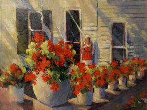 Ms. Julie's Geraniums, Oil by Marcia Chaves, 18in x 24in, $375 (July 2021)