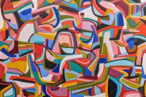 Patio Party, Acrylic on Canvas by Ellyn Wenzler, 24in x 36in, $670 (July 2021)