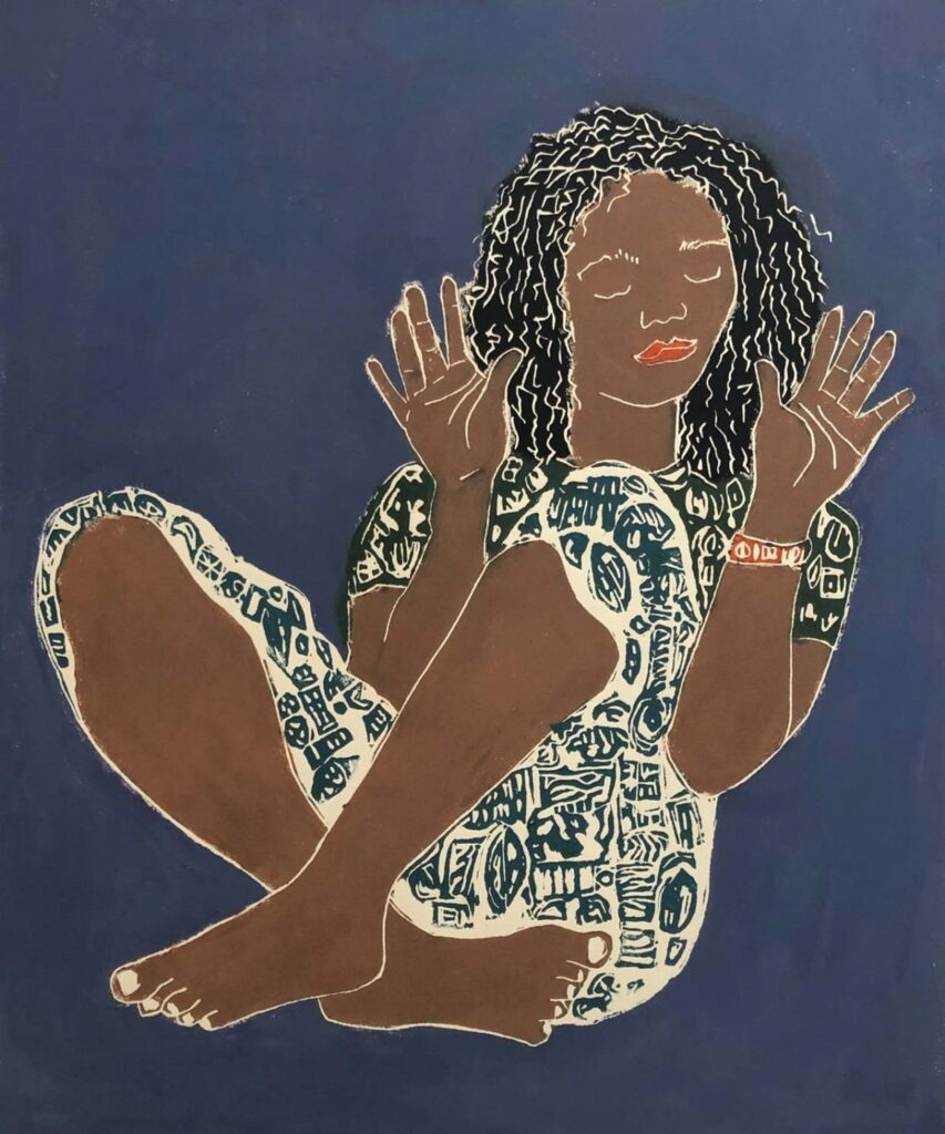 SECOND PLACE: Please, No Photos!, Lino Cut by Linda LaRochelle, 24in x 20in, $525 (July 2021)