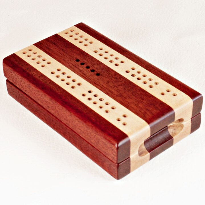 Bloodwood and Maple Compact Travel Cribbage Board folded closed