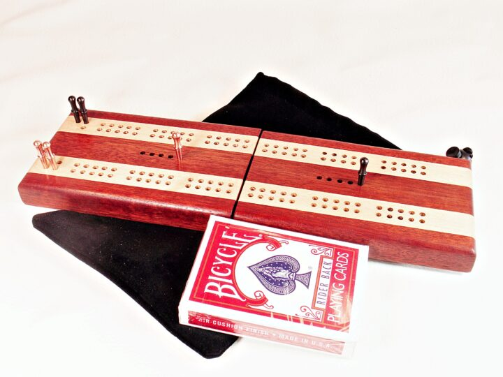 Bloodwood and Maple Compact Travel Cribbage Board open and ready for play