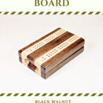 Compact Travel Cribbage Board - Black Walnut & Maple