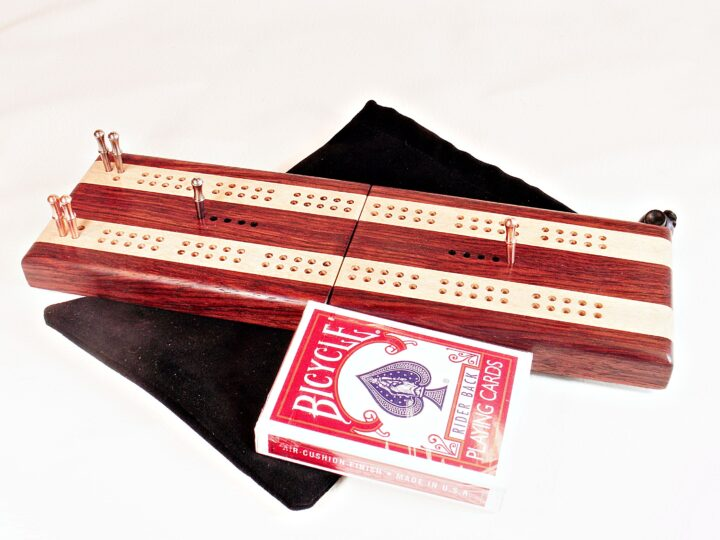 Bubinga and Maple Travel Cribbage Board ready to be played!