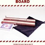 Compact Travel Cribbage Board - Peruvian Walnut & Maple