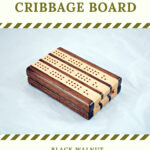 Compact Travel Cribbage Board 3 Player - Black Walnut & Maple