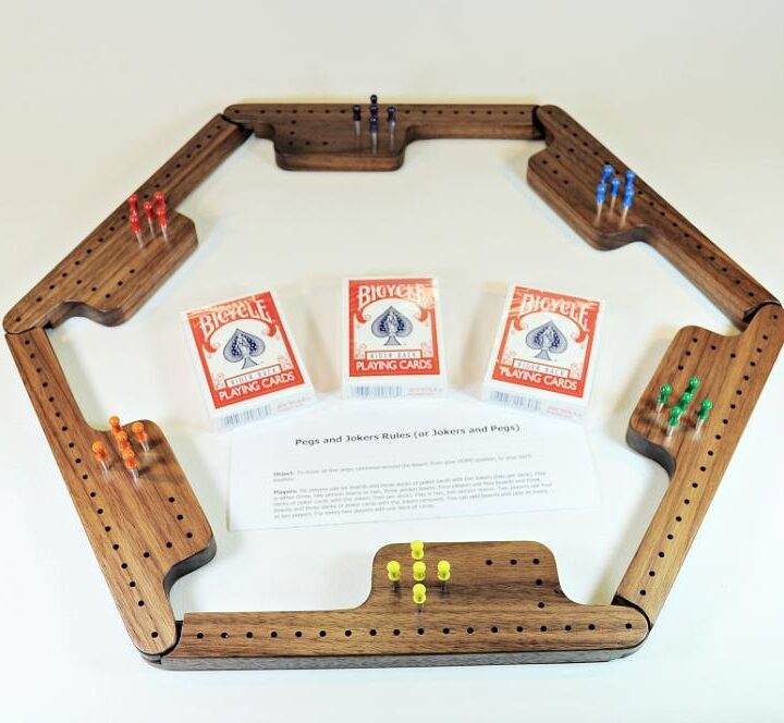 Pegs & Jokers Game Set - Black Walnut
