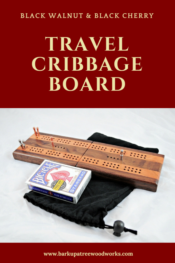 The Compact Travel Cribbage Board - Black Walnut & Black Cherry by Bark Up A Tree Woodworks is great for backpacks, RV's, auto glove boxes, or as your everyday standard wood cribbage board. The folding cribbage board forms a case to keep the pegs and deck of cards all in one place. Click on the pin to get yours today!!! #cribbage #cribbageboard #travelcribbage #barkupatreewoodworks #woodcribbageboard #foldingcribbage