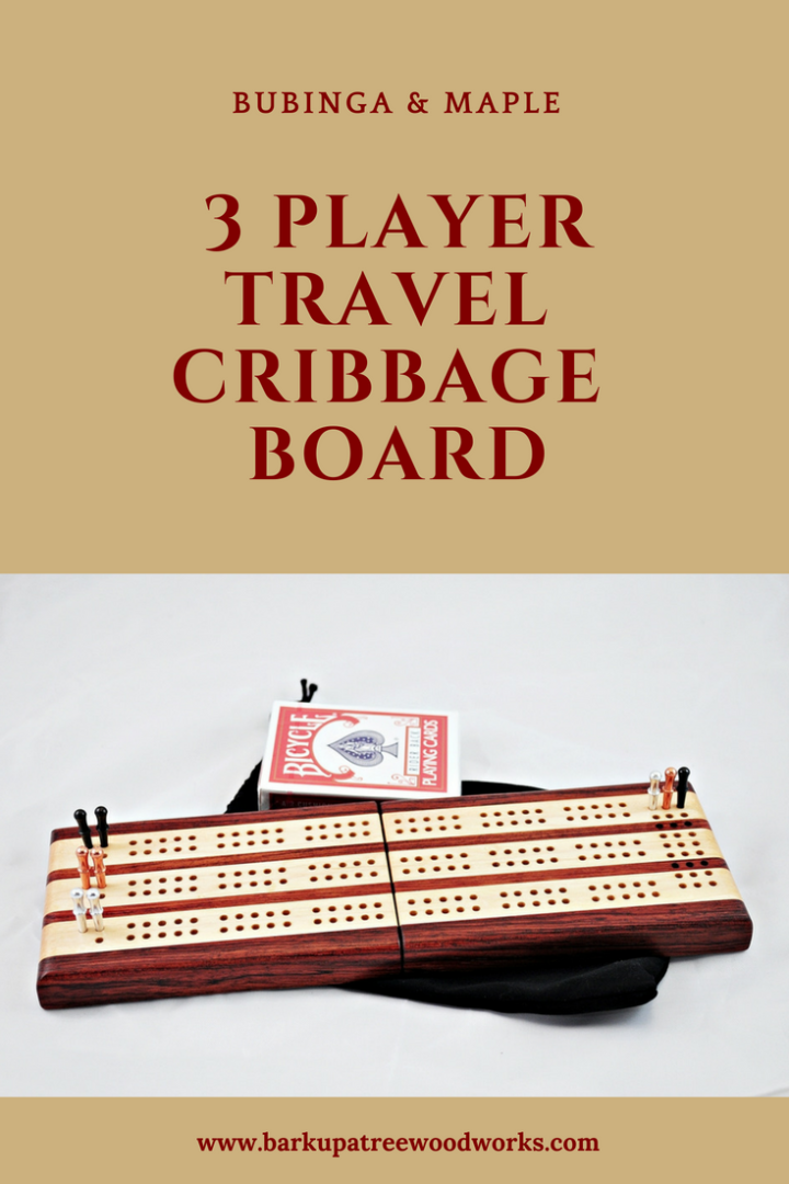 Bubinga and Maple 3 Player Travel Cribbage Board Pinterest Pin