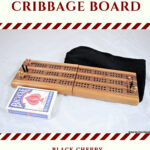 Compact Travel Cribbage Board 3 Player - Black Cherry & Black Walnut