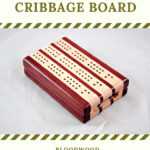 Compact Travel Cribbage Board 3 Player - Bloodwood & Maple