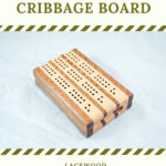 Compact Travel Cribbage Board 3 Player - Lacewood & Maple