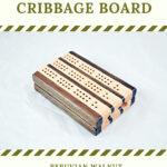 Compact Travel Cribbage Board 3 Player - Padauk & Maple