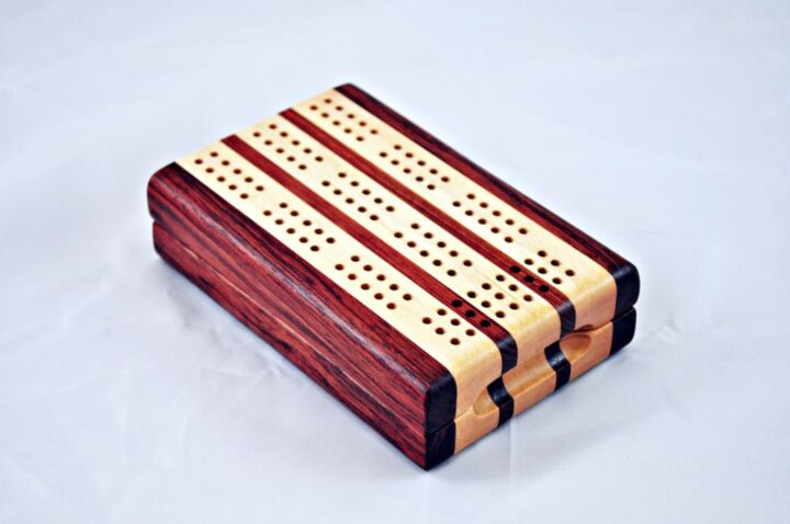 Bubinga and Maple 3 Player Travel Cribbage Board. closed and ready to travel!