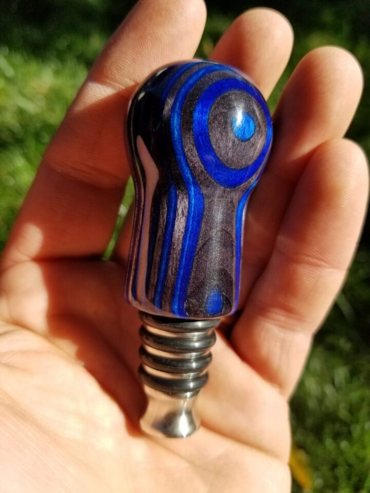 Bottle Stopper - SpectraPly Blue Angel with Stainless Steel Side Hand