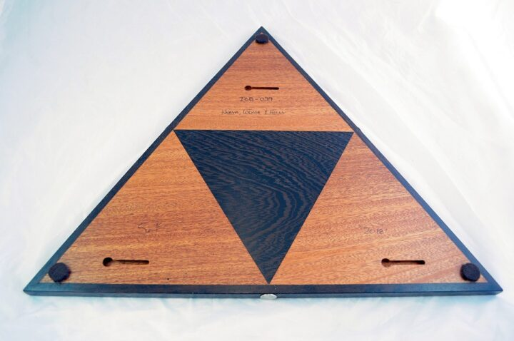Triangle 3 Player Cribbage Race Board - Khaya & Wenge with Holly Inlays Back