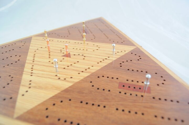 Triangle 3 Player Cribbage Race Board - Cumaru & Red Oak with Padauk Inlays Side
