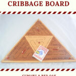 ICB Triangle Cribbage Board Cumaru Red Oak High 0042