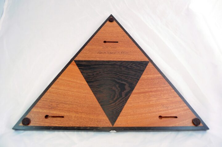 Triangle 3 Player Cribbage Race Board - Khaya & Wenge with Ebony Inlays Back