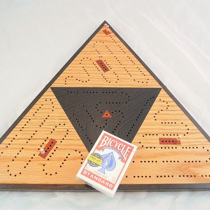 ICB-0041 Triangle Cribbage Board Red Oak & Wenge with Padauk Main