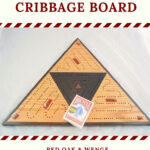 ICB-0041 Triangle Cribbage Board Red Oak & Wenge with Ebony High Pin