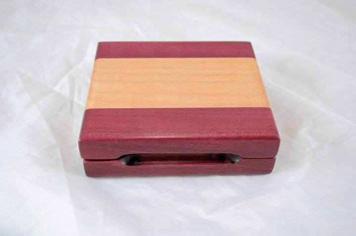Playing Card Case #52 - Purpleheart & Curly Maple Closed