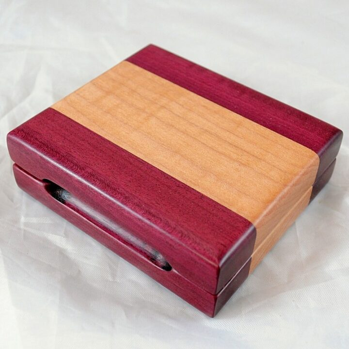 Playing Card Case #52 - Purpleheart & Curly Maple
