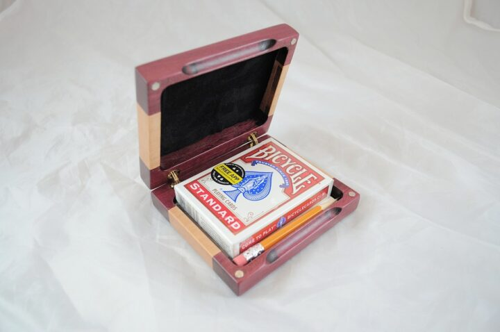 Playing Card Case #52 - Purpleheart & Curly Maple Open