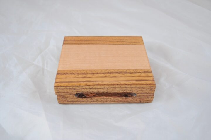 Playing Card Case #53 - Zebrawood & Curly Maple Closed