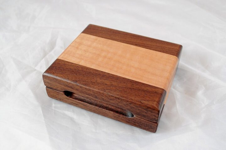 Playing Card Case #64 - Black Walnut & Curly Maple