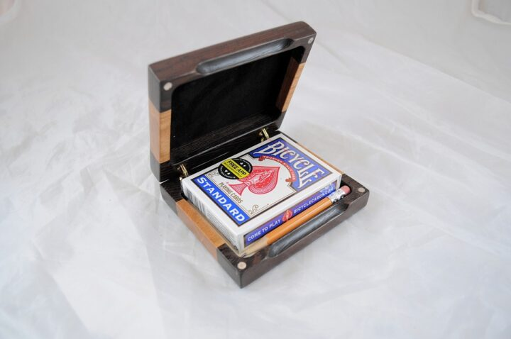 Playing Card Case #82 - Wenge & Black Cherry Open