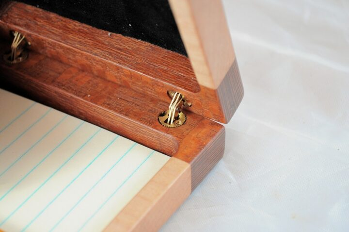 Playing Card Case #84 - Leopardwood & Curly Maple Hinges
