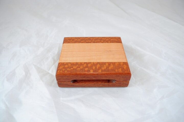 Playing Card Case #84 - Leopardwood & Curly Maple Closed