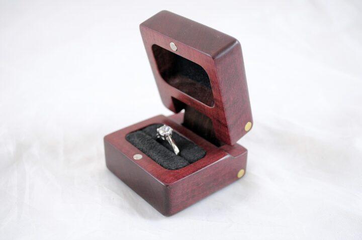 Ring Box - Purpleheart & Peruvian Walnut - Open Right Side