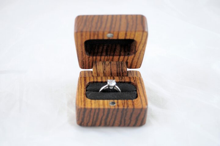 Ring Box - Zebrawood - Front Open