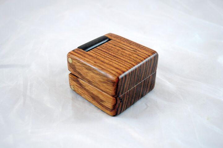 Zebrawood & Claro Walnut Ring Box
