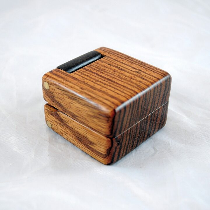 Zebrawood & Claro Walnut Ring Box
