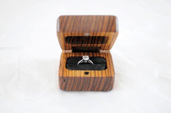 Ring Box Open Front - Zebrawood & Claro Walnut