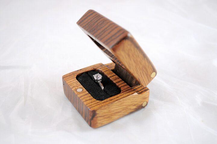 Ring Box Open Left - Zebrawood & Claro Walnut