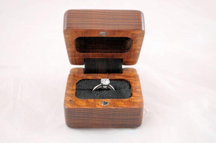 Ring Box - Leopardwood & Wenge - Front Open