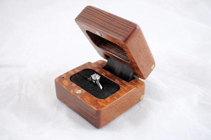 Ring Box - Leopardwood & Wenge - Side Open