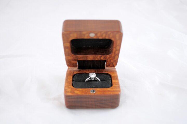Ring Box - Leopardwood & Peruvian Walnut - Front Open